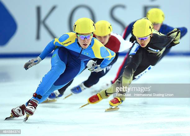 Denis Nikisha of Kazakhstan competes in Men's 500m race during day one of the ISU World Junior Short Track Speed Skating Championships at Osaka pool...