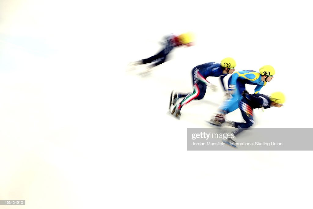 Denis Nikisha of Kazakhstan (second right) competes in the Men's 5000m Relay semi-finals on day one of the ISU World Cup Short Track Speed Skating on February 14, 2015 in Erzurum, Turkey.