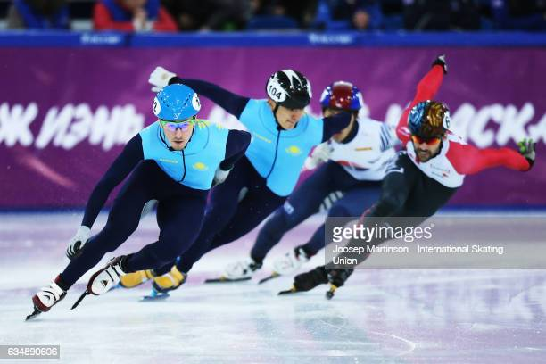 Denis Nikisha of Kazakhstan competes in the Men's 500m final during day two of the ISU World Cup Short Track at Minsk Arena on February 12 2017 in...