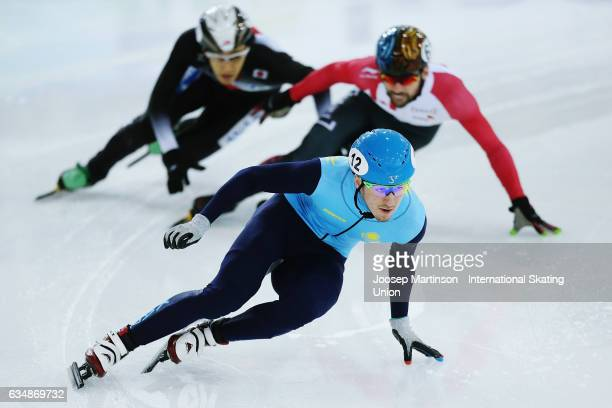 Denis Nikisha of Kazakhstan competes in the Men's 500m semi final during day two of the ISU World Cup Short Track at Minsk Arena on February 12 2017...