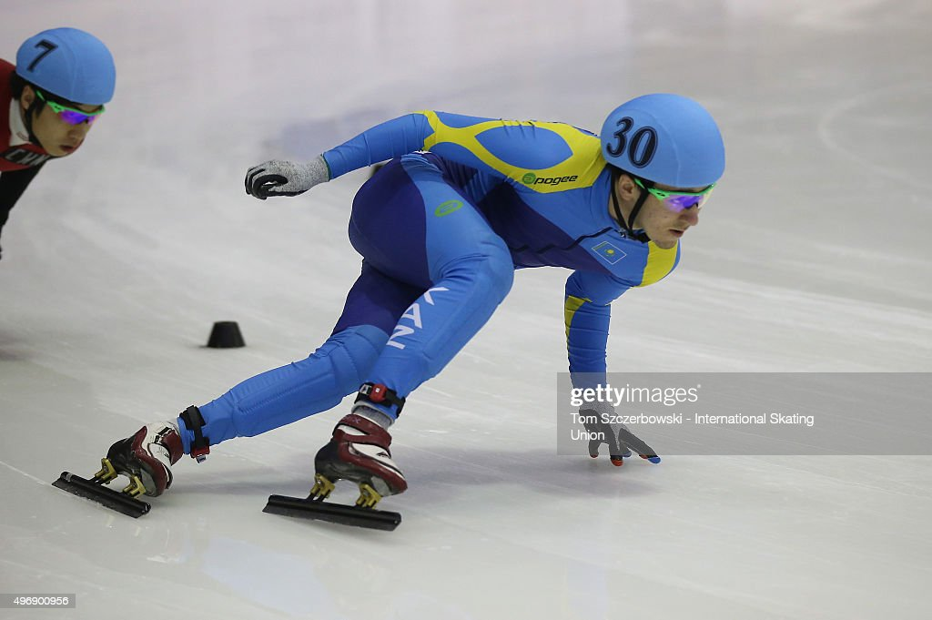 Denis Nikisha of Kazakhstan competes on Day 1 of the ISU World Cup Short Track Speed Skating competition at MasterCard Centre on November 7, 2015 in Toronto, Ontario, Canada.