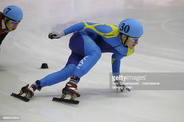 Denis Nikisha of Kazakhstan competes on Day 1 of the ISU World Cup Short Track Speed Skating competition at MasterCard Centre on November 7 2015 in...