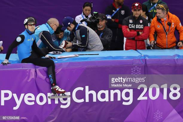Denis Nikisha of Kazakhstan during the Men's Short Track Speed Skating 500m Heats on day eleven of the PyeongChang 2018 Winter Olympic Games at...