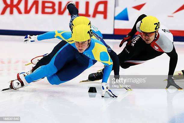 Denis Nikisha of Kazakhstan leads the group during the Men's 1000m prepreliminaries during day two of the Samsung ISU Short Track World Cup at the on...