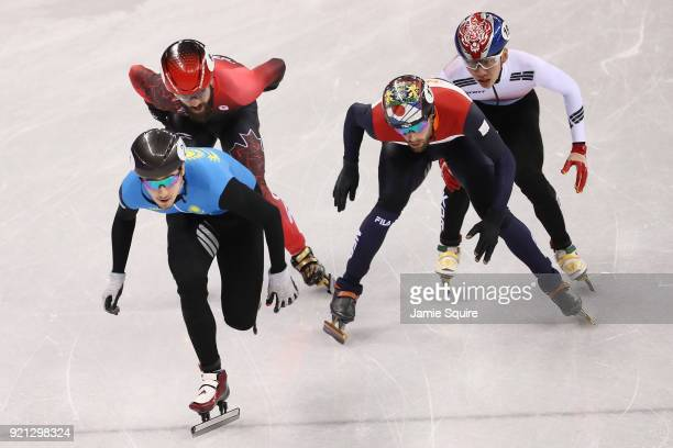 Denis Nikisha of Kazakhstan leads the packduring the Men's Short Track Speed Skating 500m Heats on day eleven of the PyeongChang 2018 Winter Olympic...