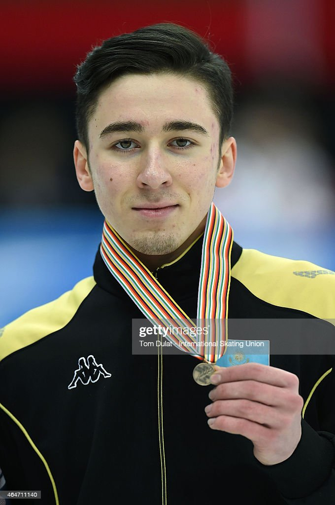 Denis Nikisha of Kazakhstan poses during the medal ceremony for the Men's 500m final race on day two of the ISU World Junior Short Track Speed Skating Championships at Osaka Pool on February 28, 2015 in Osaka, Japan.