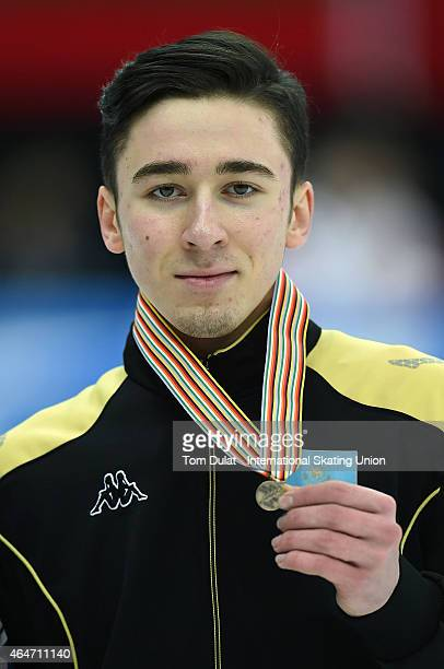 Denis Nikisha of Kazakhstan poses during the medal ceremony for the Men's 500m final race on day two of the ISU World Junior Short Track Speed...