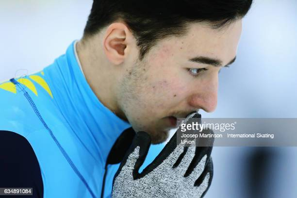 Denis Nikisha of Kazakhstan prepares in the Men's 500m final during day two of the ISU World Cup Short Track at Minsk Arena on February 12 2017 in...