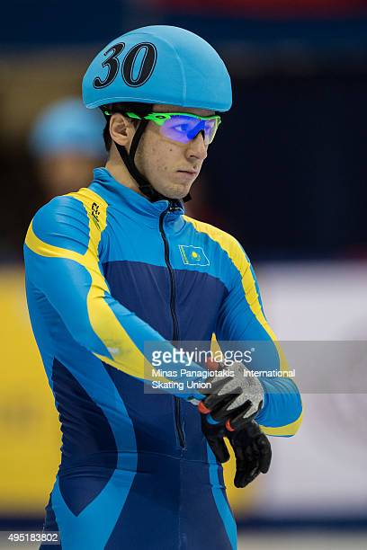 Denis Nikisha of Kazakhstan prepares to compete on Day 1 of the ISU World Cup Short Track Speed Skating competition at MauriceRichard Arena on...