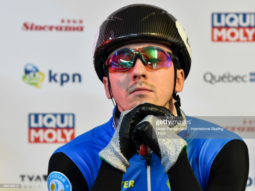 Denis Nikisha of Kazakstan looks on prior to his competition in the men's 1500 meter semifinals during the World Short Track Speed Skating Championships at Maurice Richard Arena on March 17, 2018 in Montreal, Quebec, Canada.
