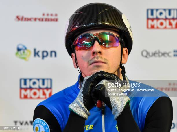 Denis Nikisha of Kazakstan looks on prior to his competition in the men's 1500 meter semifinals during the World Short Track Speed Skating...