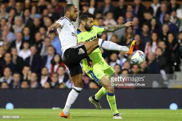 Denis Odoi of Fulham and Bradley Johnson of Derby battle for the ball during the Sky Bet Championship Play Off Semi FinalSecond Leg match between...