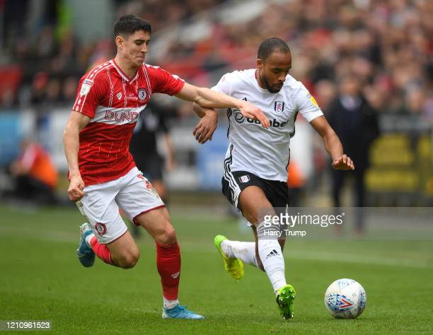 Denis Odoi of Fulham battles for possession with Callum O'Dowda of Bristol City during the Sky Bet Championship match between Bristol City and Fulham...