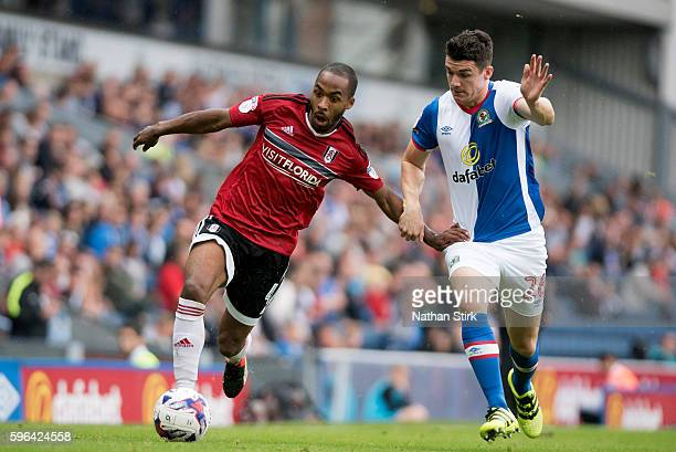 Denis Odoi of Fulham battles with Blackburn's Tomas Kalas battle for the ball during the Sky Bet Championship match between Blackburn Rovers and...