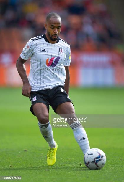 Denis Odoi of Fulham during the Sky Bet Championship match between Blackpool and Fulham at Bloomfield Road on September 11, 2021 in Blackpool,...