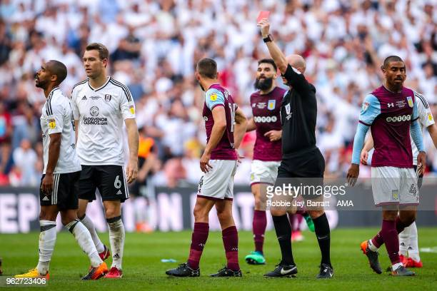 Denis Odoi of Fulham receives a red card for a second yellow during the Sky Bet Championship Play Off Final between Aston Villa and Fulham at Wembley...