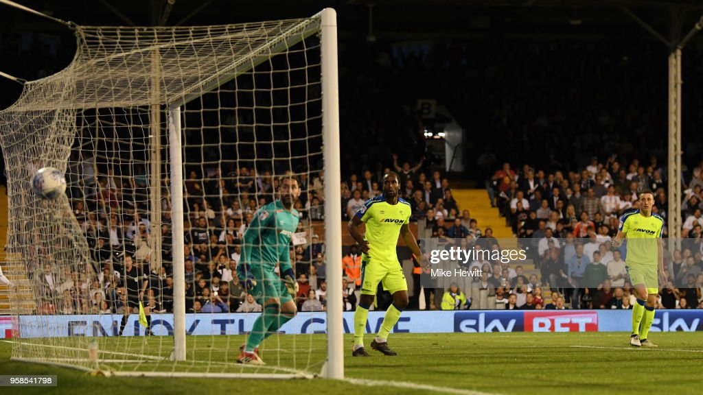 Denis Odoi of Fulham (not pictured) scores his sides second goal past Scott Carson of Derby County during the Sky Bet Championship Play Off Semi Final, second leg match between Fulham and Derby County at Craven Cottage on May 14, 2018 in London, England.