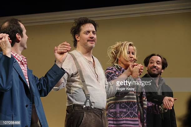 Denis O'Hare Brendan Fraser Jennifer Coolidge and Jeremy Shamos performs onstage at the Broadway opening night of Elling at the Ethel Barrymore...