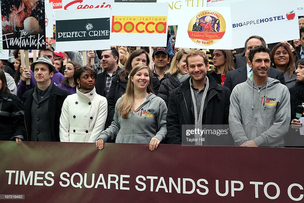 Denis O'Hare, Montego Glover, a guest, Chad Kimball, and Ethan Zohn attend the Stand Up to Cancer Times Square News Year's Eve initiative launch at Duffy Square on November 30, 2010 in New York City.