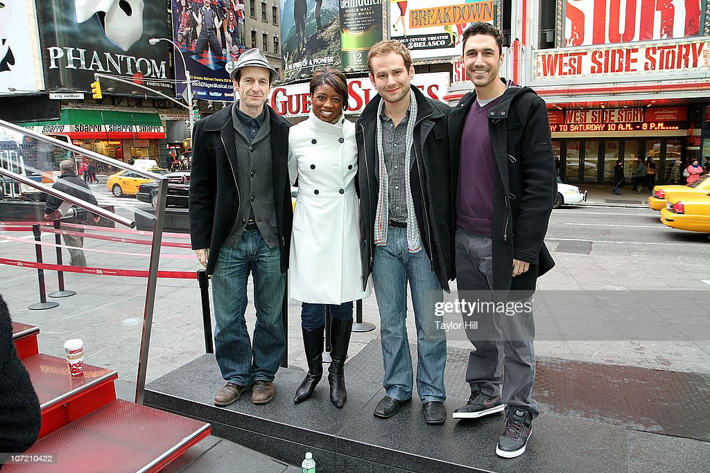 Denis O'Hare, Montego Glover, Chad Kimball, and Ethan Zohn attend the Stand Up to Cancer Times Square News Year's Eve initiative launch at Duffy Square on November 30, 2010 in New York City.