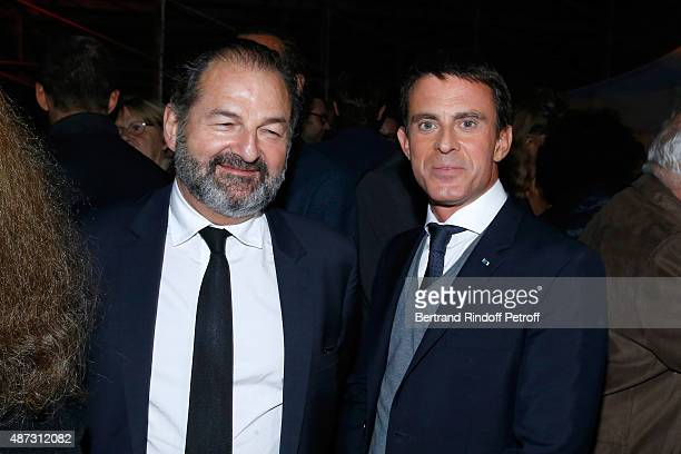 Denis Olivennes and French Prime Minister Manuel Valls attend 'La Traviata' Opera en Plein Air produced by Benjamin Patou 'Moma Group' Held at Hotel...