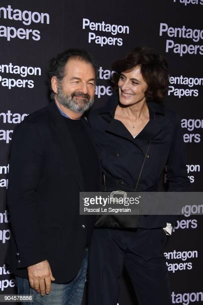Denis Olivennes and Ines de la Fressange attend 'Pentagon Papers' Premiere at Cinema UGC Normandie on January 13 2018 in Paris France