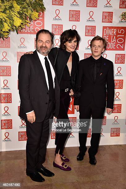 Denis Olivennes Ines de La Fressange and Alex Lutz attend the Sidaction Gala Dinner 2015 at Pavillon d'Armenonville on January 29 2015 in Paris France