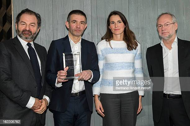 Denis Olivennes President of Lagardere Active prize laureate reporter Philippe Lancon Aurelie Filipetti French Culture Minister and Laurent Joffrin...