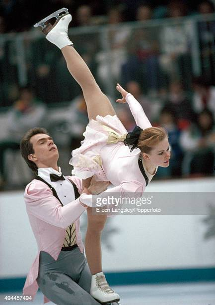 Denis Petrov and Elena Bechke of Russia performing in the pairs skating event during the Winter Olympic Games in Albertville France circa February...