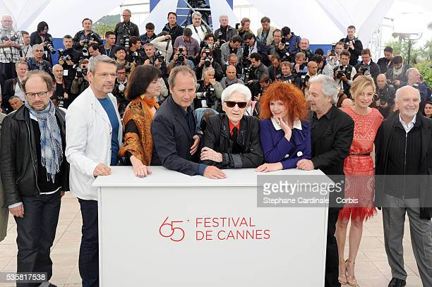 Denis Podalydes Lambert Wilson Annie Duperey Hippolyte Girardot Alain Resnais Sabine Azema Pierre Arditi and Anne Consigny at the photo call for...