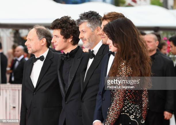 Denis Podalydes Vincent Lacoste Christophe Honore Pierre Deladonchamps and Adele Wismes attend the screening of 'Sorry Angel ' during the 71st annual...