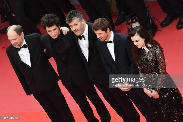 Denis Podalydes Vincent Lacoste Christophe Honore Pierre Deladonchamps and Adele Wismes attends the screening of 'Sorry Angel ' during the 71st...