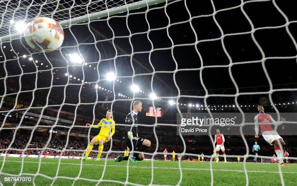 Denis Polyakov scores an own goal Arsenal's 4th during the UEFA Europa League group H match between Arsenal FC and BATE Borisov at Emirates Stadium...