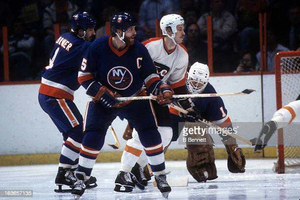 Denis Potvin of the New York Islanders skates on the ice during the 1980 Stanley Cup Finals against the Philadelphia Flyers in May 1980 at the...