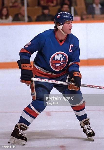DEnis Potvin of the New York Islanders watches the play against the Toronto Maple Leafs during game action at Maple Leaf Gardens in Toronto Ontario...
