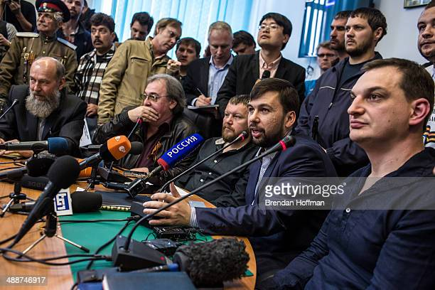 Denis Pushilin the selfproclaimed chairman of the proRussian Donetsk People's Republic holds a news conference to announce a planned referendum on...