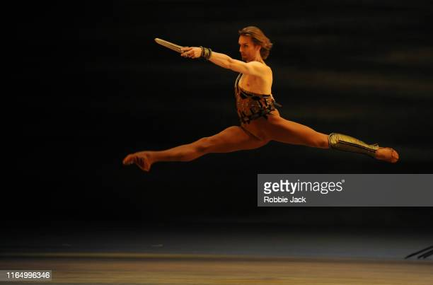 Denis Rodkin as Spartacus in The Bolshoi Ballet's production of Yuri Grigorovich's Spartacus at The Royal Opera House on July 29, 2019 in London,...
