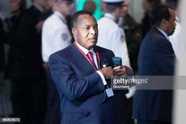 Denis Sassou Nguesso Congo's president arrives at the One Planet Summit in Paris France on Tuesday Dec 12 2017 French President Emmanuel Macron hosts...