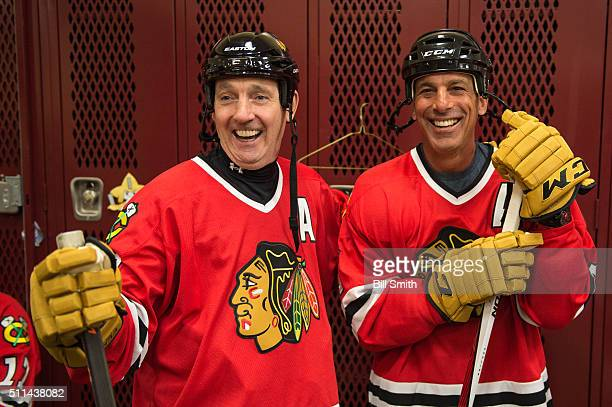 Denis Savard and Chris Chelios of the Chicago Blackhawks Alumni prepare for the 2016 Coors Light Stadium Series Alumni Game at TCF Bank Stadium on...