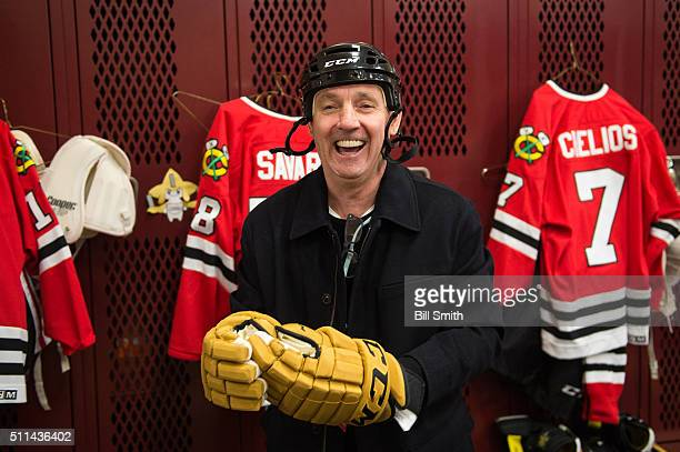 Denis Savard of the Chicago Blackhawks Alumni prepares for the 2016 Coors Light Stadium Series Alumni Game at TCF Bank Stadium on February 20 2016 in...