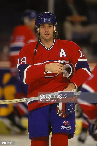 Denis Savard of the Monteal Canadiens looks on during a NHL hockey game against the Washington Capitals on November 30 1990 at Capitol Centre in...