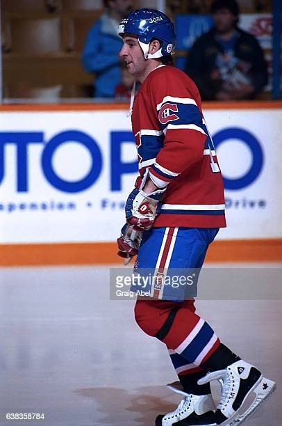 Denis Savard of the Montreal Canadiens skates in warmup prior to a game against the Toronto Maple Leafs on December 9 1991 at Maple Leaf Gardens in...