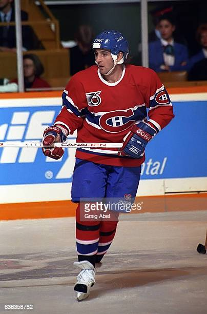 Denis Savard of the Montreal Canadiens skates up ice against the Toronto Maple Leafs during NHL game action on December 9 1991 at Maple Leaf Gardens...