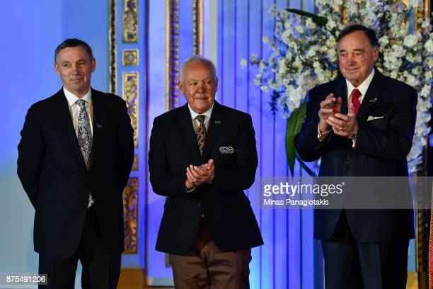 Denis Savard Yvan Cournoyer and Frank Mahovlich are introduced during the NHL Centennial 100 Celebration at the Windsor Hotel on November 17 2017 in...