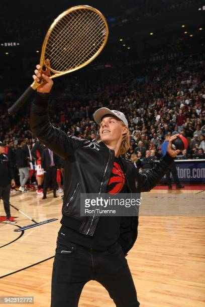 Denis Shapovalov attends the game between the Boston Celtics and the Toronto Raptors on April 4 2018 at the Air Canada Centre in Toronto Ontario...