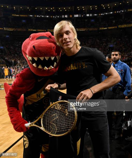 Denis Shapovalov during the game between the Utah Jazz and the Toronto Raptors on January 26 2018 at the Air Canada Centre in Toronto Ontario Canada...