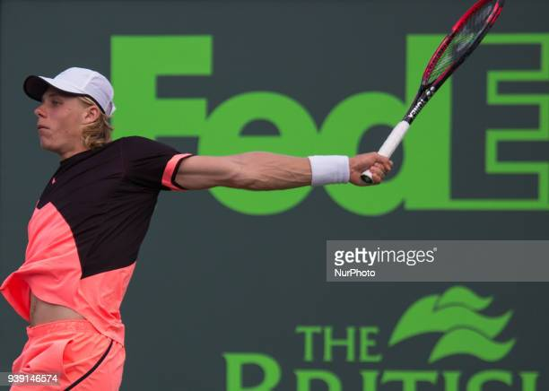 Denis Shapovalov from Canada in action against Borna Coric from Croatia during his fourth round match at the Miami Open Croic defeated Shapovalov 76...