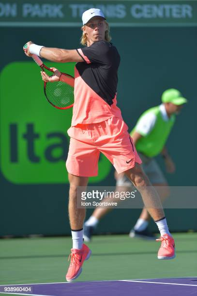 Denis Shapovalov in action here plays during day 9 of the 2018 Miami Open held at the Crandon Park Tennis Center on March 27 in Key Biscayne Florida