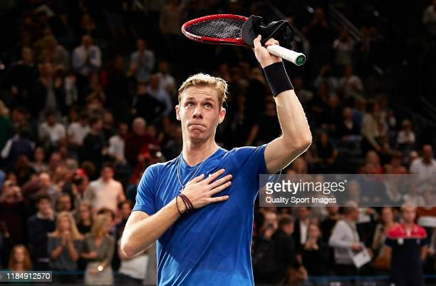 Denis Shapovalov of Canada acknowledges the fans after winning in his mens Quarterfinal match against Gael Monfils of France during Day five of the...