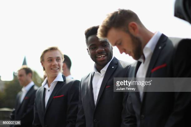Denis Shapovalov of Canada and Frances Tiafoe of United States reacts during a photoshoot ahead of the Laver Cup on September 20 2017 in Prague Czech...
